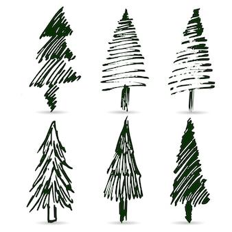 Handgezeichneter satz grüner weihnachtsbäume. die handskizzen. für neujahrsdesign.