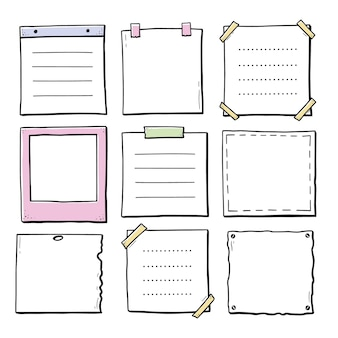 Handgezeichneter satz papieraufkleber-fotorahmen