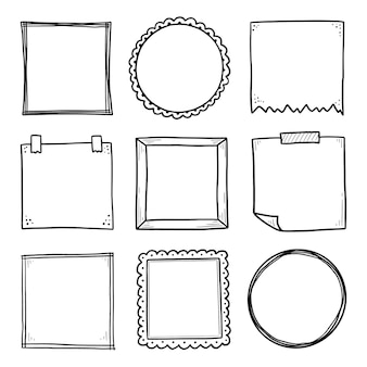 Handgezeichneter satz papieraufkleberrahmen