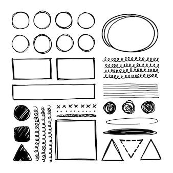 Handgezeichneter satz quadratischer und runder rahmen eine sammlung von vektorillustrationen von highlights auf weiß