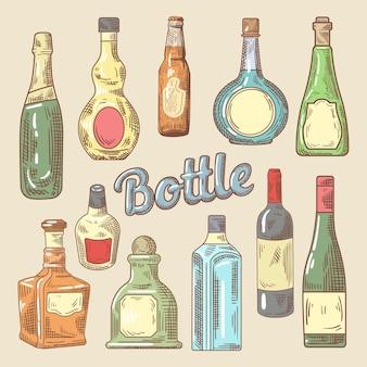 Handgezeichneter satz verschiedener flaschen für getränke
