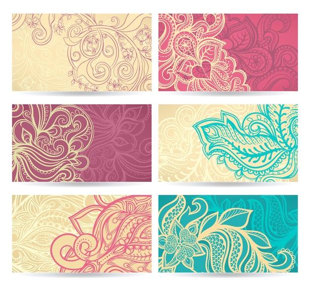Handgezeichneter satz von sechs natürlichen farbmustern