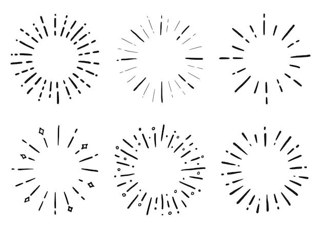 Handgezeichneter satz von sunburst shine ray doodle