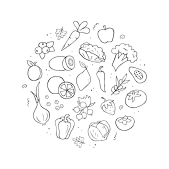 Handgezeichneter satz von vitamin-c-quellen. gemüse, obst, beeren.