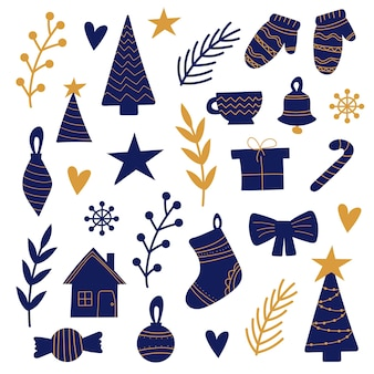 Handgezeichneter satz weihnachtselemente in blau und gold auf weiß