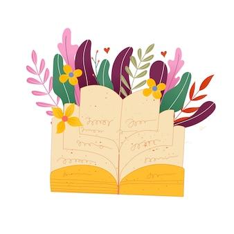 Handgezeichneter schriftzug buchclub-inschrift für einladungs- und grußkarten, promo, drucke, flyer, cover und poster. vektor-vintage-illustration mit floralen blättern