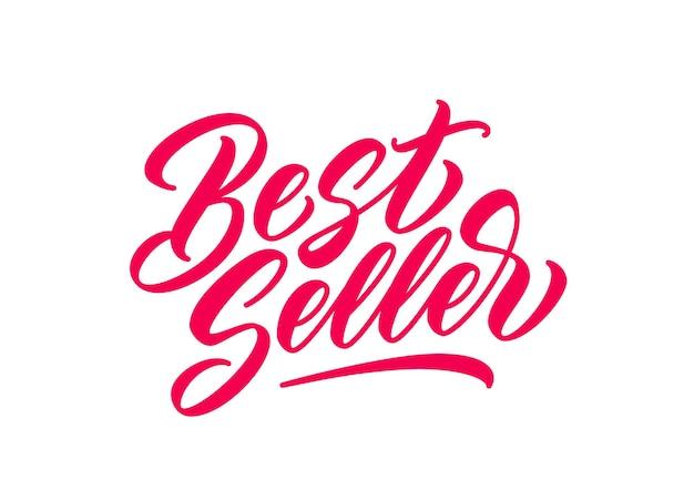 Handgezeichneter schriftzug des bestsellers. rote handgeschriebene inschrift für geschäft, promotion und werbung. vektorkalligraphietext im schriftstil.