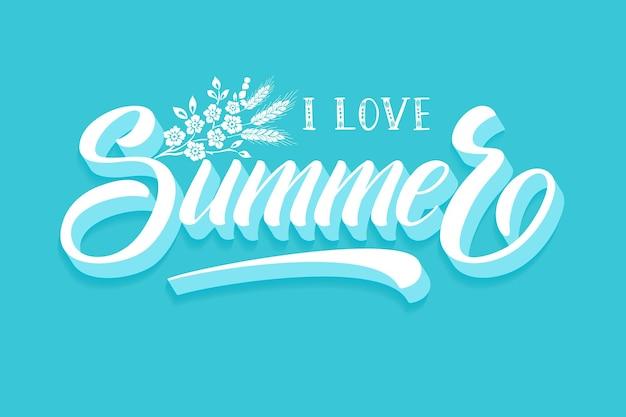 Handgezeichneter schriftzug - i love summer