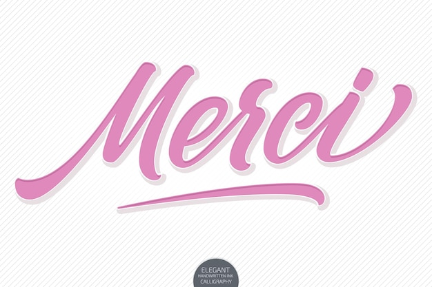 Handgezeichneter schriftzug merci mit weichem schatten und prägung