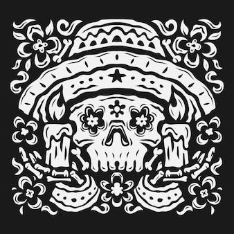 Handgezeichneter schwarz-weißer da de muertos-hintergrund im flachen design