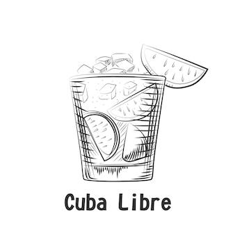 Handgezeichneter skizzencocktail kuba libre