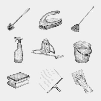 Handgezeichneter skizzensatz der reinigungsausrüstung. hauswirtschaft und hausarbeit. butterfly floor mop, scheibenwischer aus glas, lappen und handschuh, sprühgerät, professioneller schwamm, reinigungsbürste, toilettenbürste