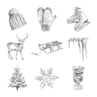 Handgezeichneter skizzensatz der winterzeit. das set besteht aus strickmütze, schlitten, hirsch, baum, schlittschuhen, schneeflocke, eiszapfen, glühweinglas und wollhandschuhen