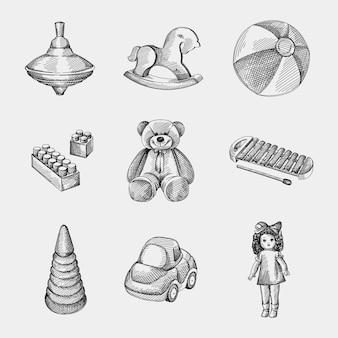 Handgezeichneter skizzensatz von kinderspielzeug. kreisel, schaukelpferd, kleiner aufblasbarer zweifarbiger wasserball, konstrukteur / legostück, vintage-puppe, xylophon, spielzeugauto, regenbogenpyramide stapeln