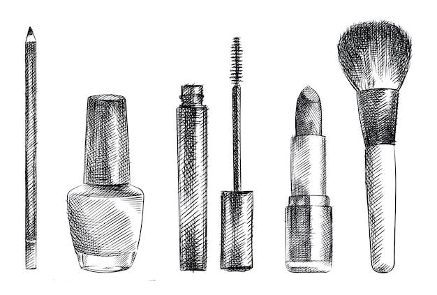 Handgezeichneter skizzensatz von make-up- und kosmetikwerkzeugen. das set enthält bleistift für augenbrauen, mascara-tube, mascara-pinsel, lippenstift, puderpinsel und nagellack-tube