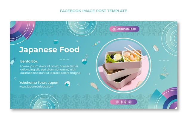 Handgezeichneter social-media-beitrag für japanisches essen Kostenlosen Vektoren