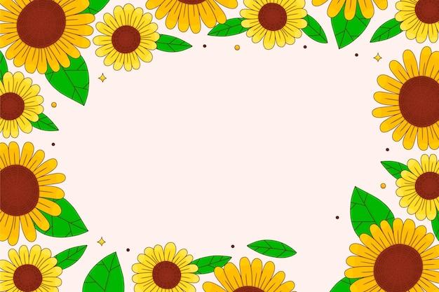Handgezeichneter sonnenblumenrand illustriert