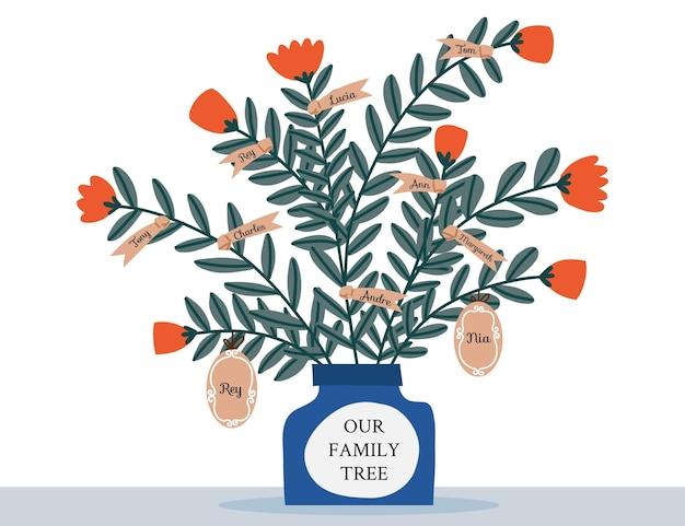 Handgezeichneter stammbaum mit blumen