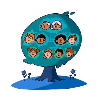 Handgezeichneter stammbaum mit illustrationen