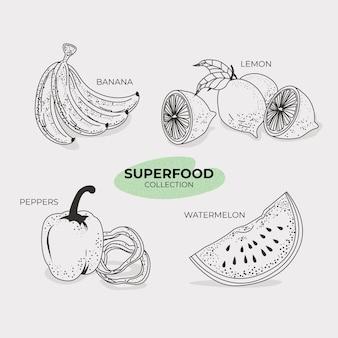 Handgezeichneter stil der superfood-sammlung