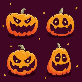 Handgezeichneter stil des halloween-kürbissatzes
