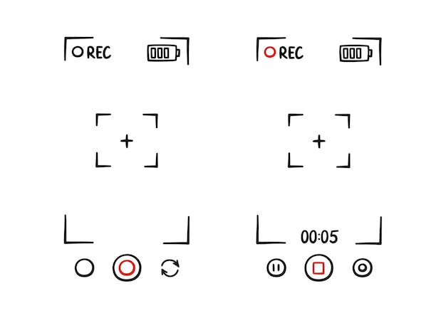 Handgezeichneter sucherrahmen der telefonkamera bildschirm der digitalanzeige des videorecorders