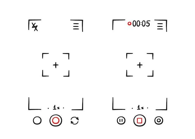 Handgezeichneter sucherrahmen der telefonkamera. bildschirm der digitalen anzeige des videorecorders. smartphone-design-vorlage. vektor-illustration isoliert auf weißem hintergrund im doodle-stil