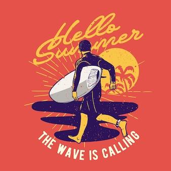 Handgezeichneter surfer im retro-stil mit grunge-effekt und starburst-hintergrund
