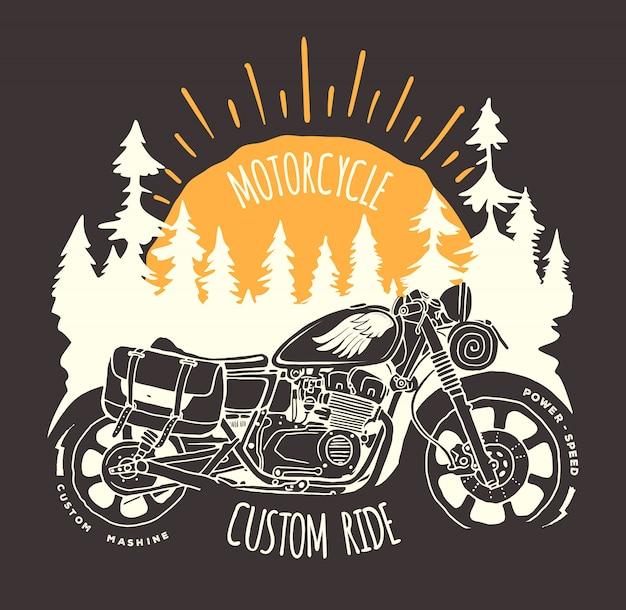 Handgezeichneter t-shirt-druck der kundenspezifischen fahrradreise.