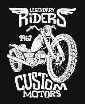 Handgezeichneter t-shirt-druck des weinlese-motorrads.