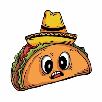 Handgezeichneter taco mit überraschtem ausdruck