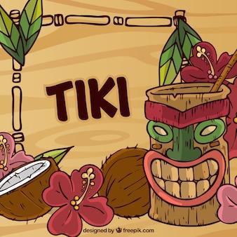 Handgezeichneter tiki-cocktail, kokosnüsse und blumen