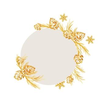Handgezeichneter vektor-weihnachtsrahmen aus einem goldenen weihnachtsbaum und kegel.