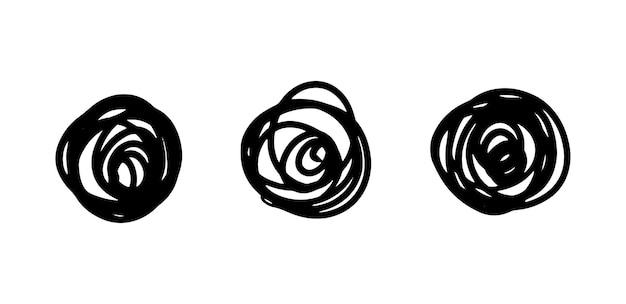 Handgezeichneter verworrener linienknoten satz handgezeichneter doodle-kreise