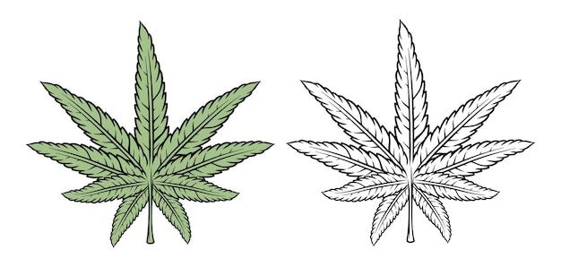 Handgezeichneter vintage-cannabisblatt-premium-vektor