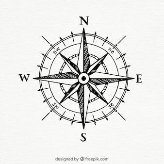 Handgezeichneter vintage kompass