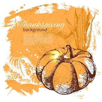 Handgezeichneter vintage thanksgiving day hintergrund
