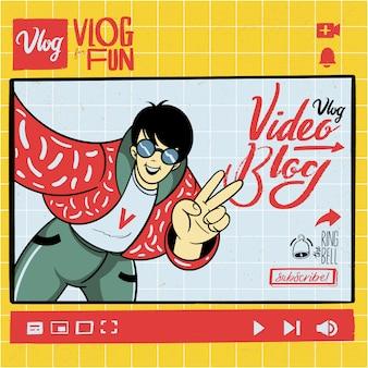 Handgezeichneter vlogger mit inhalts-vlogging-elementsatz