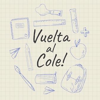 Handgezeichneter vuelta al cole hintergrund