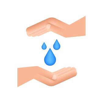 Handgezeichneter wassertropfen in den händen für bannerdesign. planet erde. erdwasser sparen.