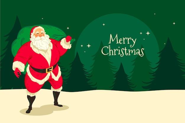 Handgezeichneter weihnachtshintergrund mit weihnachtsmann