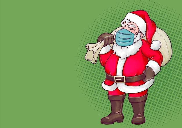 Handgezeichneter weihnachtsmann mit streitkolben