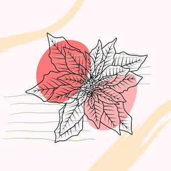 Handgezeichneter weihnachtsstern im strichkunststil a