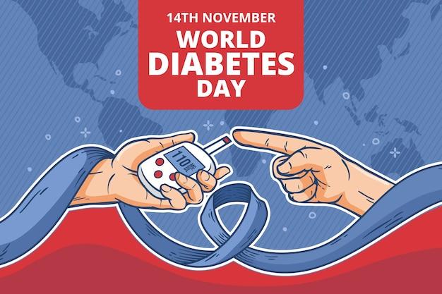 Handgezeichneter weltdiabetes-tageshintergrund