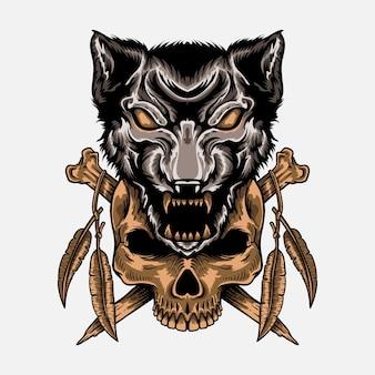 Handgezeichneter wolf mit schädel-t-shirt-design-gravur-stil isoliert dekoration