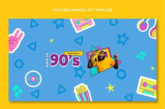 Handgezeichneter youtube-kanal des musikfestivals der 90er jahre