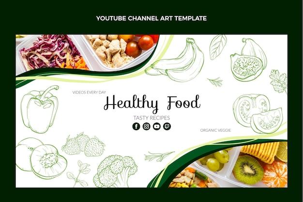 Handgezeichneter youtube-kanal für lebensmittel