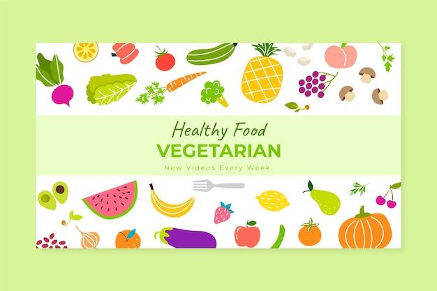 Handgezeichneter youtube-kanal für vegetarisches essen