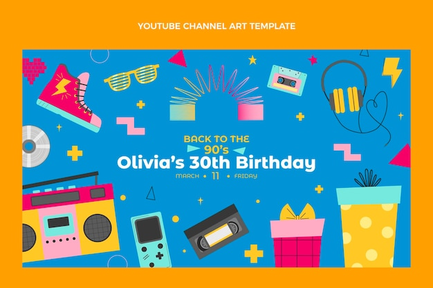 Handgezeichneter youtube-kanal zum geburtstag der 90er jahre