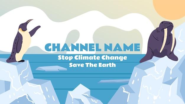 Handgezeichneter youtube-kanal zum stoppen des klimawandels